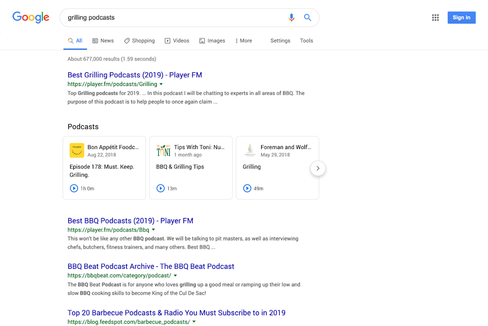 Podcast In Serp Organica di Google