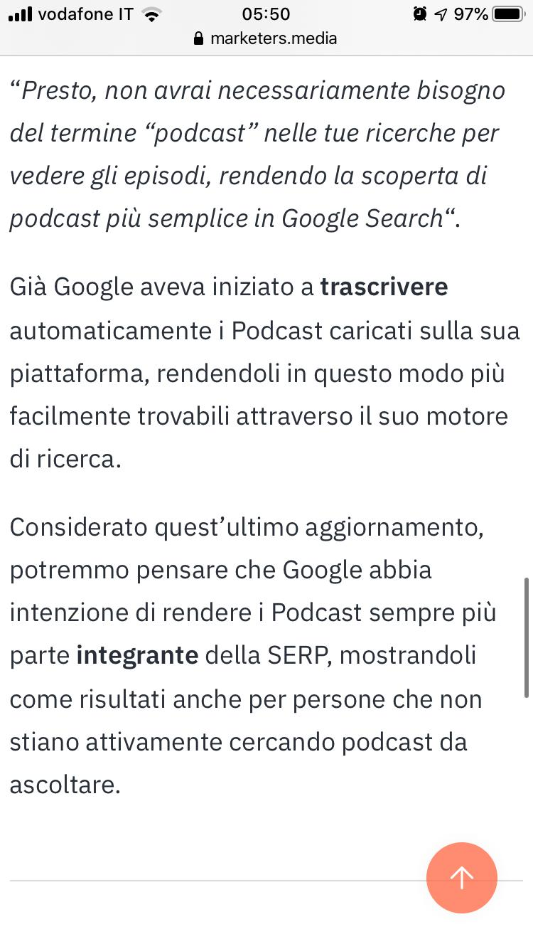 Podcast In Serp Organica di Google