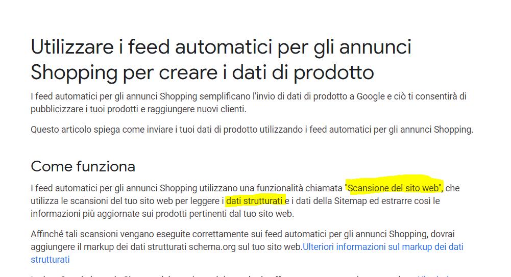Utilizzare i feed automatici per gli annunci Shopping per creare i dati di prodotto